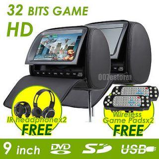 Black 2x 9HD LCD Car Grey Pillow Headrest DVD Player IR Headphone