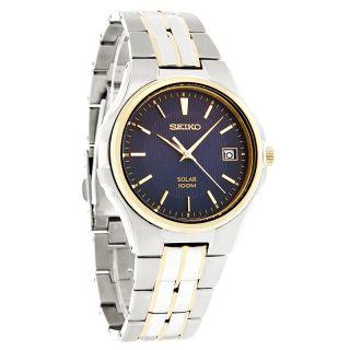 Seiko Solar Mens Blue Dial Two Tone Bracelet Dress Watch SNE124