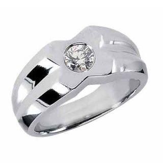 CT Carat Round Diamond Solitaire Mens Ring 14K White Gold #6806