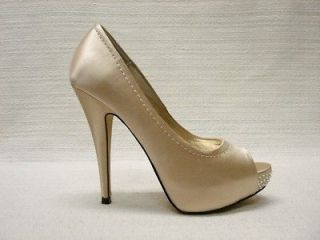 NIB STEVE MADDEN*FEELIXX *CHAMPAGNE SATIN BLING PUMPS 8.5M