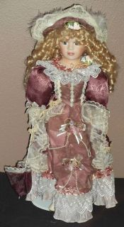 18 PORCELAIN DOLL by Cathay Collection (Victorian style dress,long