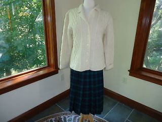 Blue & GREEN Plaid Wool Pleated Skirt Womens US 10 VTG MINT COND FREE
