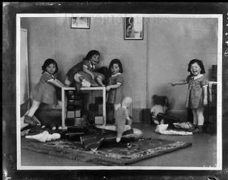 1937 4x5 ACETATE NEG Dionne Quintuplets celebrate third birthday