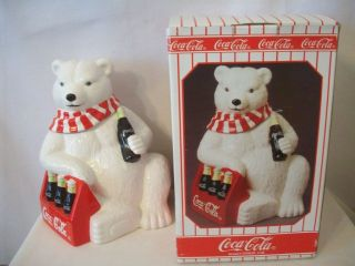 CAVANAGH COCA COLA BEAR SIX PACK COOKIE JAR MIB #E152