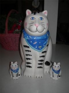 Coco Dowley Cat Cookie Jar with matching Salt & Pepper Shakers