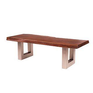 55 L Montana Metal Leg Coffee Table Dark Nat solid acacia wood