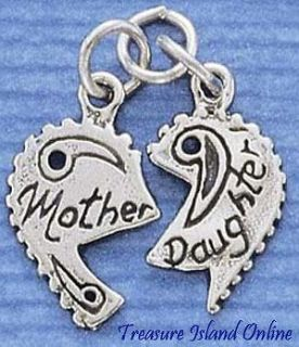 MOTHER / DAUGHTER HEART TO SHARE Sterling Silver Charm