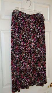 Sag Harbor Black/Pink Multi Colored Design Poly/Spandex Stretch Skirt