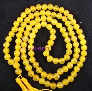 Charming*108 Tibetan Buddhist Yellow jade Prayer Beads