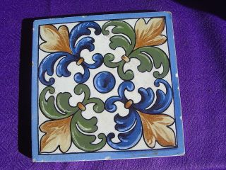 VTG Ceramic Tile Italian Floral 60s