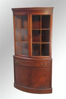 16039 Antique Mahogany Corner China Cabinet