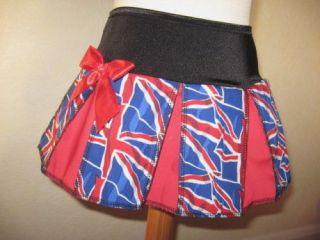 Girls Black,blue,red ,white Union Jack Cheerleader Skirt