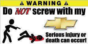 Chevrolet Camaro Funny Pair Warning Sticker Decals 2 x Avalanche ZL1