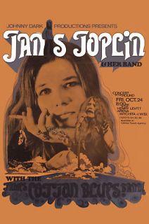 Rock & Blues Janis Joplin & James Cotton at Witchita Poster Circa
