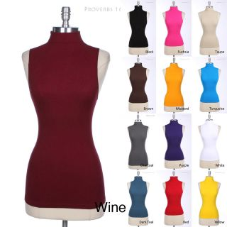 Sexy Solid Casual Sleeveless Turtleneck Tank Top ONE SIZE Various
