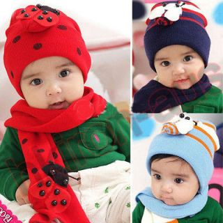 Baby Toddler Kids Children Winter Warm Hat Caps + Scarf Bee Ladybug