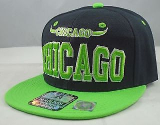 VINTAGE CHICAGO FLAT BILL SNAPBACK CAP 3D HIP HOP CHICAGO BULLS BLK