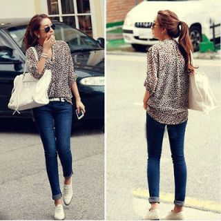 New Sexy Women Chiffon 3/4 Sleeve Casual Leopard Print Blouses Sheer