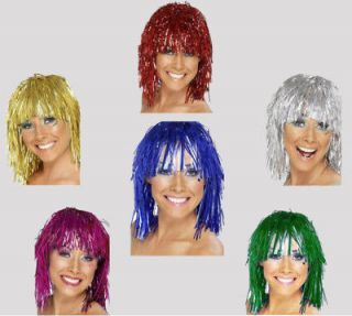 Charity Run TINSEL WIGS Red Blue Green Pink Silver Gold