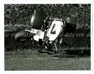 1980 Photo~USAC/CRA Sprint Car, dirt track racing, #7 Ron Rea upside