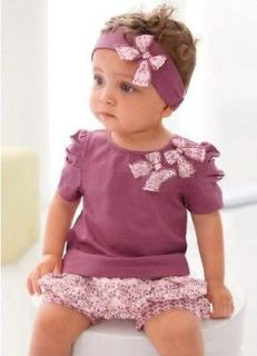 3pcs Cotton Baby Girl Newborn Infant Short Top+Pant+Headband Outfits