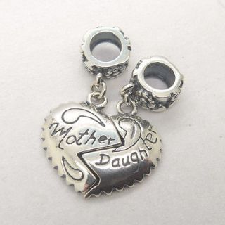 925 silver core mother daughter lovely heart dangle charm bead YB146