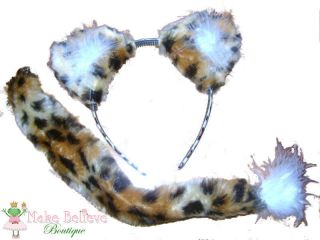 Cheetah Ears & Tail Faux Fur Fancy Dress Kids & Adults
