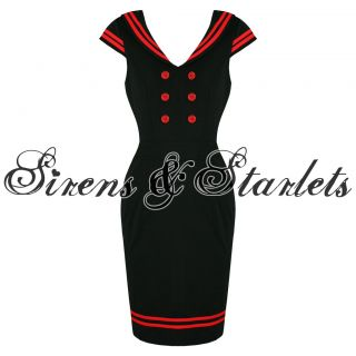HELL BUNNY HORIZON BLACK RED NAUTICAL SAILOR ROCKABILLY VINTAGE PENCIL