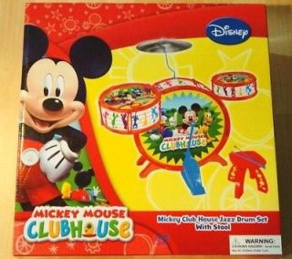 Mickey Mouse Clubhouse Jazz Children Kids Drum Set Kit + Stool NIB