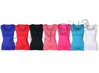 6T Shirt Top Women Plain Vest Ruffle Top 7 Colors Size UK 6 12