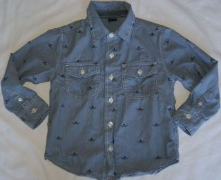 SZ 4T BLUE WHITE PIN STRIPED CHAMBRAY SHIRT SKULLS WINGS BUTTON UP