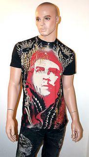 CHRISTIAN AUDIGIER Ed Hardy EL CHE GUEVARA Shirt RHINESTONE Gold Red