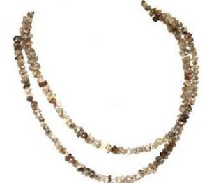 20ct Genuine Natural Rough Champagne Diamond Necklace Uncut FREE
