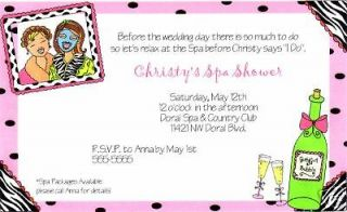spa day girls night out sleepover birthday party invitations 2