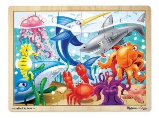Kids Wooden Jigsaw Puzzles NEW Melissa & Doug Ocean Sea Shark Fish 24