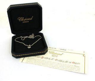 CHOPARD 18K WHITE GOLD HAPPY DIAMONDS HEART PENDANT CERT & BOX RETAIL