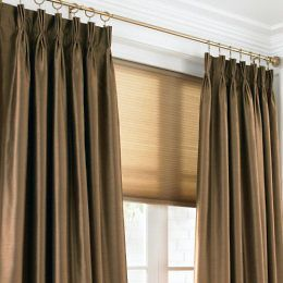 CHRIS MADDEN PINCH PLEAT PANEL PAIR ENERGY SAVINGS DRAPES BROWN NEW IN