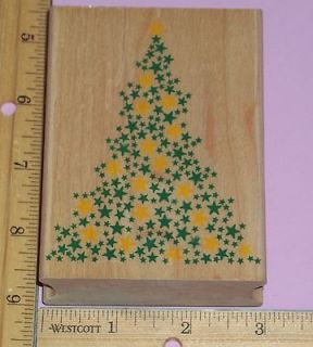 LARGE STAR TREE CHRISTMAS rubber stamp ALL NIGHT MEDIA low shipping