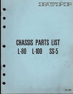 RUPP MINI BIKE L 80, L 100, & SS 5 CHASSIS PARTS LIST MANUAL