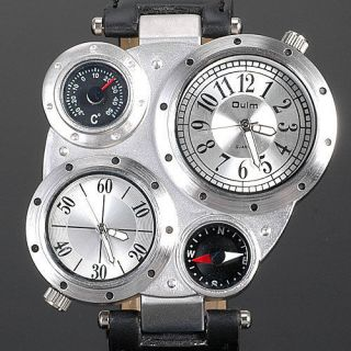 Black Silver Mens Military Quartz Watch GMT Two Time Zone Xmas GIFTS