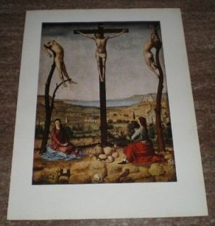 The Crucifixion Jesus Christ Virgin Mary St John Messina Vintage Color