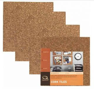 Quartet 6 X 6 Cork Tiles Sealed Pack Of 4, With Self Stick Pads