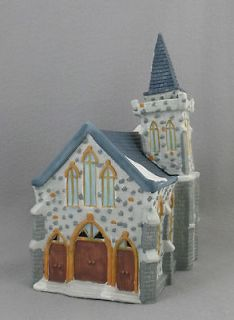 Dickensville Collectibles, Porcelain Grey Stone Lighted Church, 1990