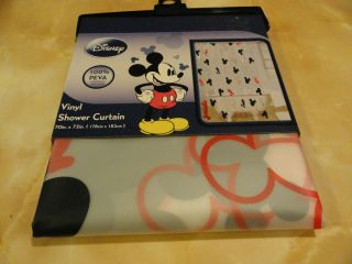 PEVA vinyl MICKEY MOUSE Frosty Clear SHOWER CURTAIN~red black gray