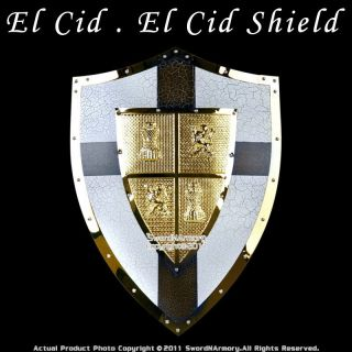Medieval El Cid Shield Knight Armor Steel W/ Cross New