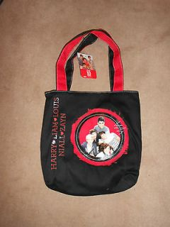 NEW, 1D ONE DIRECTION BLACK & RED SMALL CLOTH PURSE TOTE