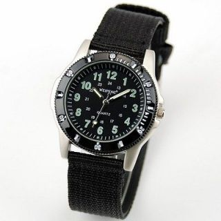 Fabric Belt Black Plastic Case Army Outdoor Sport Wrist Watch+Compass