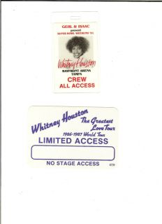 WHITNEY HOUSTON CONCERT LAMINATE AND CLOTH PASSES