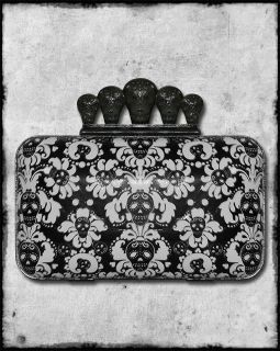 BLACK SUGAR SKULL DAMASK WALLPAPER SUICIDAL MINI CLUTCH BAG PURSE CASE