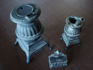 AMERICANA cast iron MINIATURE POT BELLIED STOVES collection of 3